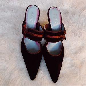 BCBG PARIS Vintage Velvet Mule Heels Pointy Toe